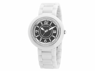 43mm Stainless Steel Swiss made with White Ceramic/Stainless Steel bezel, Cabochon Crown, double curved sapphire crystal and black dial with silver Arabic markers, 0.73     total carat weight Diamonds (73 stones) on a white ceramic bracelet. Water resistant to 3ATM. - CRW-81-2-40-0012