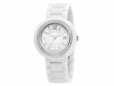 43mm Stainless Steel Swiss made with White Ceramic/Stainless Steel bezel, Cabochon Crown, double curved sapphire crystal and white dial with silver Arabic markers, 0.73     total carat weight Diamonds (73 stones) on a white ceramic bracelet. Water resistant to 3ATM. - CRW-81-2-40-0011