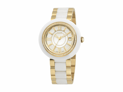 37mm Stainless Steel Swiss made with White Ceramic/Yellow PVD bezel, Cabochon Crown, double curved sapphire crystal and MOP/white dial with yellow Roman markers 0.53     total carat weight Diamonds (66 stones) on a white/yellow ceramic bracelet. Water resistant to 3ATM. - CWY-71-1-43-0004