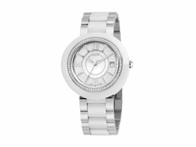 37mm Stainless Steel Swiss made with White Ceramic/Stainless Steel bezel, Cabochon Crown, double curved sapphire crystal and MOP/white dial with silver Roman markers, 0.53     total carat weight Diamonds (66 stones) on a white ceramic/Stainless Steel bracelet. Water resistant to 3ATM. - CRW-82-1-41-0001