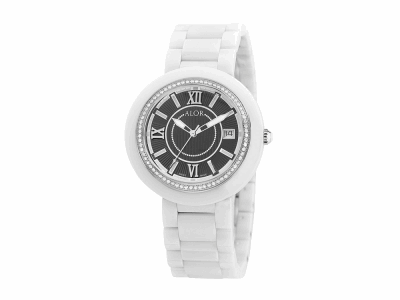 37mm Stainless Steel Swiss made with White Ceramic/Stainless Steel bezel, Cabochon Crown, double curved sapphire crystal and black dial with silver Roman markers, 0.53     total carat weight Diamonds (66 stones) on a white ceramic bracelet. Water resistant to 3ATM. - CRW-82-1-40-0002