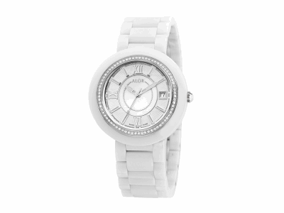 37mm Stainless Steel Swiss made with White Ceramic/Stainless Steel bezel, Cabochon Crown, double curved sapphire crystal and MOP/white dial with silver Roman markers, 0.53     total carat weight Diamonds (66 stones) on a white ceramic bracelet. Water resistant to 3ATM. - CRW-82-1-40-0001