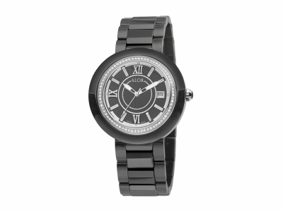 37mm Stainless Steel Swiss made with Black Ceramic/Stainless Steel bezel, Cabochon Crown, double curved sapphire crystal and black dial with silver Roman markers, 0.53     total carat weight Diamonds (66 stones) on a black ceramic bracelet. Water resistant to 3ATM. - CRB-91-1-45-0002