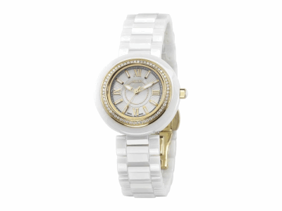 32mm Stainless Steel with White Ceramic/Yellow PVD bezel, Cabochon Crown, double curved sapphire crystal and white MOP dial with yellow Roman markers 0.35ct. Diamonds (70 stones) on a white ceramic bracelet. Water resistant to 3ATM. - CWY-71-0-40-1004