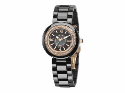32mm Stainless Steel with Black Ceramic/Stainless Steel bezel, Cabochon Crown, double curved sapphire crystal and black MOP dial with rose Roman markers, 0.35ct. Diamonds (70 stones) on a black ceramic bracelet. Water resistant to 3ATM. - CBR-91-0-45-1103
