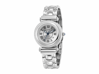 34mm Stainless Steel with Stainless Steel 0.30     total carat weight diamond bezel (60 stones), sapphire crystal and silver Roman marker dial on a stainless steel cascade bracelet. Water resistant to 3ATM. - CAL-81-1-60-0150