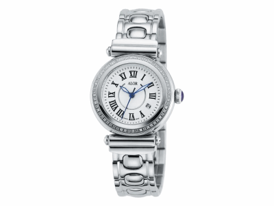 34mm Stainless Steel with Stainless Steel diamond bezel 0.30     total carat weight (60 stones), sapphire crystal and White dial with silver Roman markers on a cascade bracelet. Water resistant to 3ATM. - CAL-81-1-60-0100