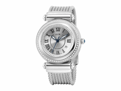 34mm Stainless Steel with Stainless Steel 0.30     total carat weight diamond bezel (60 stones), sapphire crystal and silver Roman marker dial on a grey stainless steel cable bracelet. Water resistant to 3ATM. - CAL-81-1-32-0150
