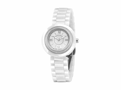 32mm Stainless Steel with White Ceramic/Stainless Steel bezel 0.35ct. Diamonds (70 stones), Cabochon Crown, double curved sapphire crystal and white MOP dial with silver Roman markers on a white ceramic bracelet. Water resistant to 3ATM. - CRW-82-0-40-1001