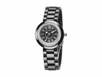 32mm Stainless Steel with Black Ceramic/Stainless Steel bezel, Cabochon Crown, double curved sapphire crystal and black MOP dial with silver Roman markers, 0.35ct. Diamonds (70 stones) on a black ceramic bracelet. Water resistant to 3ATM. - CRB-91-0-45-1002
