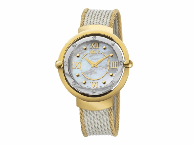 43mm Stainless Steel Swiss made with Yellow PVD/Stainless Steel bezel, double curved sapphire crystal and MOP dial with gold Roman markers 0.12     total carat weight Diamonds (8 stones) on a yellow (outside 2 row 2.5mm) & grey (inside 8 row 2.0mm) stainless steel cable bracelet. Water resistant to 3ATM. - DBY-71-3-33-2004