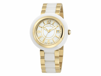 43mm Stainless Steel Swiss made with White Ceramic/Yellow PVD bezel, Cabochon Crown, double curved sapphire crystal and white dial with yellow Arabic markers on a white/yellow ceramic bracelet. Water resistant to 3ATM. - CWY-70-2-43-0014
