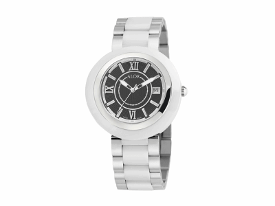 37mm Stainless Steel Swiss made with White Ceramic/Stainless Steel bezel, Cabochon Crown, double curved sapphire crystal and black dial with silver Roman markers on a white ceramic/Stainless Steel bracelet. Water resistant to 3ATM. - CRW-80-1-41-0002