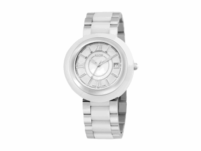 37mm Stainless Steel Swiss made with White Ceramic/Stainless Steel bezel, Cabochon Crown, double curved sapphire crystal and MOP/white dial with silver Roman markers on a white ceramic/Stainless Steel bracelet. Water resistant to 3ATM. - CRW-80-1-41-0001