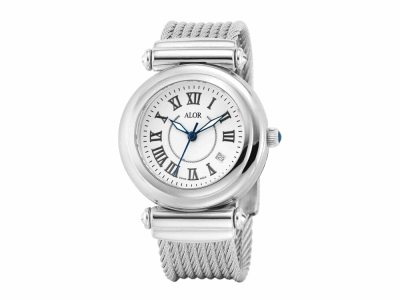 34mm Stainless Steel with Stainless Steel bezel, sapphire crystal and white with silver Roman marker dial on a stainless steel cable bracelet. Water resistant to 3ATM. - CAL-80-1-32-0100
