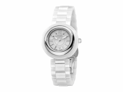 32mm Stainless Steel with White Ceramic/Stainless Steel bezel, Cabochon Crown, double curved sapphire crystal and white MOP dial with silver Roman markers on a white ceramic bracelet. Water resistant to 3ATM. - CRW-80-0-40-1001