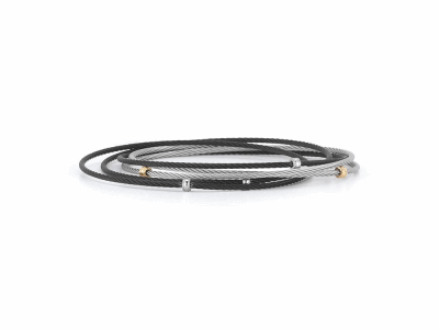 Black cable and grey cable 5 row 1.6mm, 18 karat Yellow Gold with stainless steel. Imported. - 04-54-0005-00