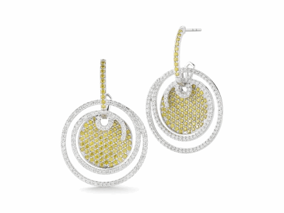 18 karat White Gold and Diamonds 1.16     total carat weight White, 1.62     total carat weight Yellow Diamonds. Imported. - 03-08-BL10-32