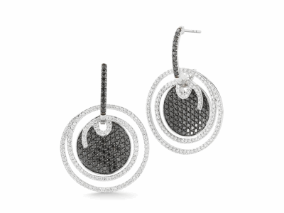 Old World MN/YG 17mm round shield White Mosaic drop earring with white diamonds and white sapphires.
