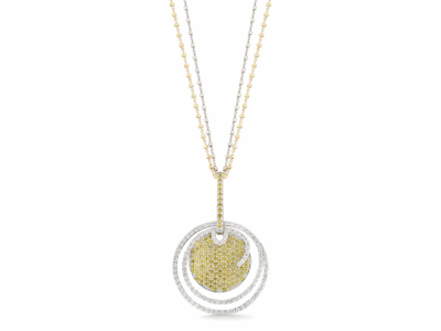 """Collection: Old World Style #: 24520 Description: Old World 31"""" blackened sterling silver Heraldry cable chain w/ cravelli stations and diamond circles with champagne diamonds.Metal: .925 Sterling Silver/18k Yellow Gold"""