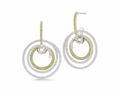 18 karat White Gold and Diamonds 1.16     total carat weight White, 0.73     total carat weight Yellow Diamonds. Imported. - 03-08-BL11-32