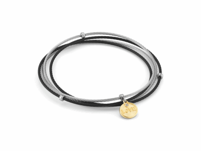 Grey and Black cable 4 row 1.6mm, 18kt. Yellow Gold with stainless steel and 0.01 Diamond LOVE charm. Imported. - 04-54-LOVE