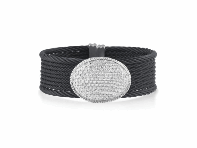Black cable 7 row 2.0 mm & 2 row 3.0 mm, 18 karat White Gold, 1.28     total carat weight Diamonds and stainless steel. Imported. - A4-52-8059-11