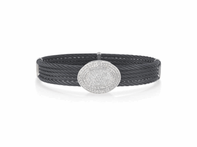 Collection: New WorldStyle #: 10714Description: New World Oxidized Sterling Silver all-black 3.5mm wide bangle bracelet with pave champagne diamonds. Diamond Weight 0.46ct