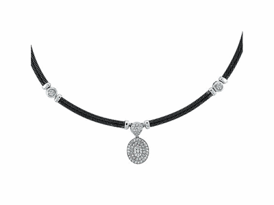 Black cable 2 row 2.0mm, 18 karat White Gold, 0.68     total carat weight Diamonds and stainless steel. Imported. - 08-52-4158-11