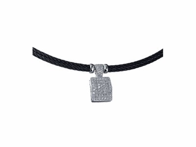 Black cable 2 row 2.0mm, 18 karat White Gold, 0.72     total carat weight Diamonds and stainless steel. Imported. - 08-52-4155-11