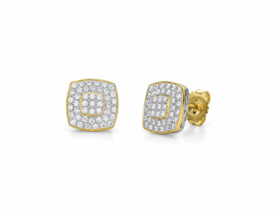 Old World MN/YG petite shield White Mosaic drop earring with white diamonds and white sapphires.