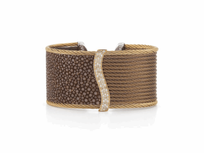 Bronze cable, 18 karat Petra Gold, 0.33 mixed color Diamonds and 0.33     total carat weight White Diamonds, brown Stingray and stainless steel. Imported. - 04-36-R157-30