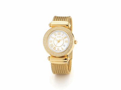 34mm Yellow PVD Stainless Steel 0.60     total carat weight diamond bezel (120 stones), sapphire crystal and gold Roman marker dial on a Yellow PVD Stainless Steel cable bracelet. Water resistant to 3ATM. - CAL-72-1-37-0104