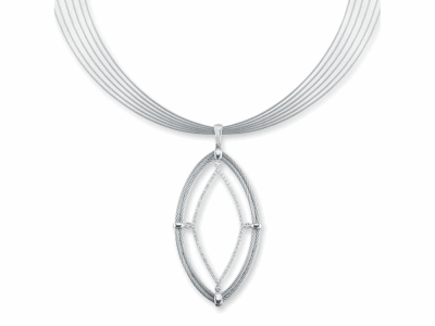 Grey cable, 18 karat White Gold, 0.62     total carat weight Diamonds and stainless steel. Imported. - 08-32-S848-11