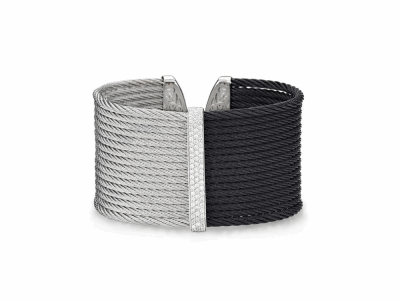 Black cable and grey cable, 18 karat White Gold, 0.56     total carat weight Diamonds with stainless steel. Imported. - 04-54-0625-11