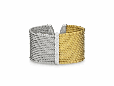 Yellow cable and grey cable, 18 karat White Gold, 0.56tcw Diamonds with stainless steel. Imported. - 04-34-S625-11