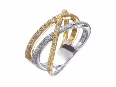 18 karat White Gold, Yellow Gold and Rose Gold and Diamonds 0.35     total carat weight. Imported. - 02-06-1507-11