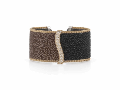 Bronze cable, 18 karat Petra Gold, 0.33 mixed color Diamonds and 0.33     total carat weight White Diamonds, black and brown Stingray with stainless steel. Imported. - 04-36-R156-30