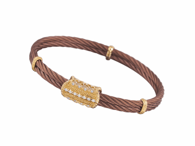 Bronze cable 2 row 3.0 mm, 18 karat Petra Gold, 0.13     total carat weight Diamonds and stainless steel. Imported. - 04-55-3038-11