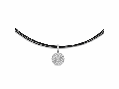 Black cable, 18 karat White Gold, 0.38     total carat weight Diamonds and stainless steel. Imported. - 08-52-0962-11