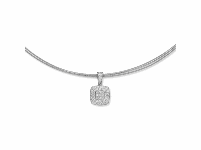 Grey cable, 18 karat White Gold, 0.41     total carat weight Diamonds and stainless steel. Imported. - 08-32-S964-11