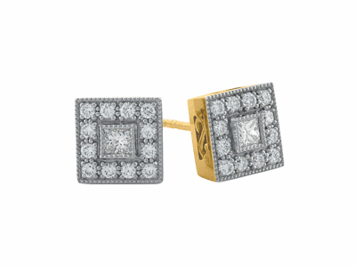 Blackened sterling silver and 18k yellow gold 35mm scalloped-edge hoop earrings.