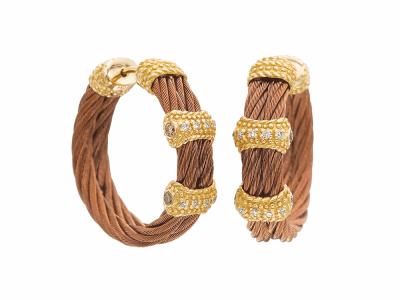 Bronze cable 2 row 2.5 mm, 18 karat Petra Gold, 0.25     total carat weight Diamonds and stainless steel. Imported. - 03-55-3167-11