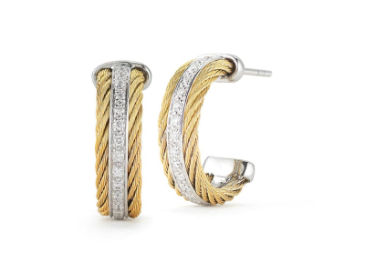 Yellow cable 2 rows, 18 karat White Gold, 0.27     total carat weight Diamonds and stainless steel. Imported. - 03-37-S301-11