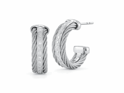 Grey cable 2 rows, 18 karat White Gold, 0.27     total carat weight Diamonds and stainless steel. Imported. - 03-32-S301-11