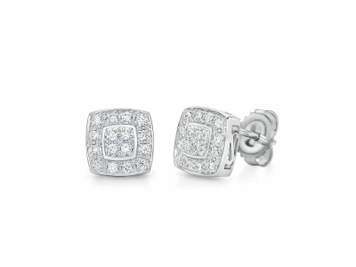 18 karat White Gold, 0.27     total carat weight Diamonds and stainless steel. Imported. - 03-28-9504-11