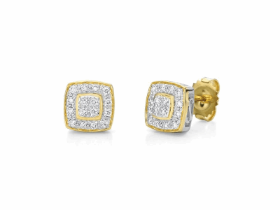 18 karat Yellow Gold, 0.27     total carat weight Diamonds and stainless steel. Imported. - 03-27-9504-11