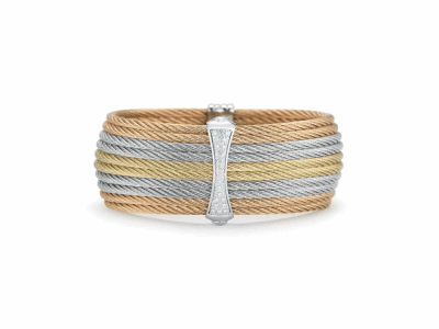 Rose cable, yellow cable and grey cable 10 row 2.0mm, 18 karat White Gold, 0.19     total carat weight Diamonds with stainless steel. Imported. - 04-36-S617-11
