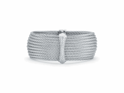 Grey cable 10 row 2.0mm, 18 karat White Gold, 0.19     total carat weight Diamonds and stainless steel. Imported. - 04-32-S617-11