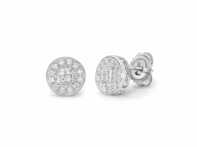 18 karat White Gold, 0.27     total carat weight Diamonds and stainless steel. Imported. - 03-28-9502-11